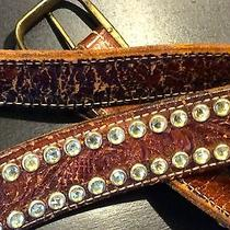 Leather Cowgirl Western Brown Belt With Swarovski Crystals True Vintage M/l Photo