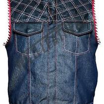 Leather & Denim Perforated Club Vest Motorcycle red&white Soa Biker Waistcoat Photo