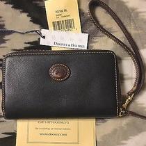 Leather Dooney & Bourke Zip Around Carryall Wallet Strap Black Brown Wristlet Photo