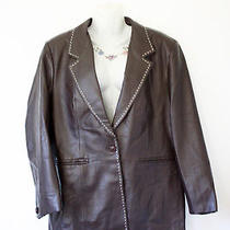 Leather Elements Coffee Bean Brown Collared Jacket With Cream Stitch Detail L Photo