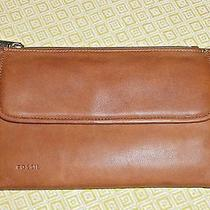Leather Fossil Tri-Fold Clutch Wallet Organizer With Check Book Holder Photo