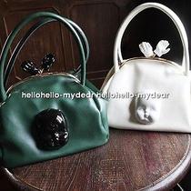 Leather Handbag Hobo Baby Head in Ceramics Smart Lovely Cute Pretty White Green Photo