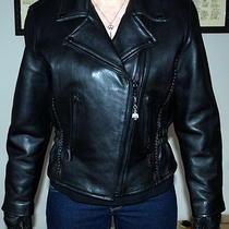 Leather Ladies Womens Braided Biker Motorcycle Jacket Photo