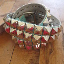 Leather Pyramid Stud Belt Robins Egg Blue h&m Made in Sweden Photo