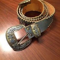 Leather Rock San Diego Leather Metal Buckle Swarovski Stones Belt Size 38 Xl Photo