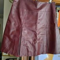 Leather Skirt Kenneth Cole Leather a-Line Burgundy Red Lined   Size 8 New  Photo