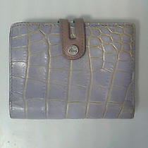 Leather Wallet - Italian - Lavender and Gold - Croc Leather  Photo