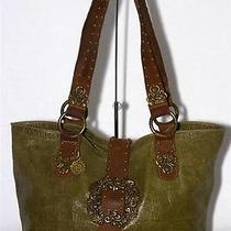 Leatherock Handbag Brown & Green Croc-Stamped Leather Purse Tote Studded Photo