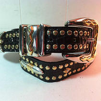 Leatherockinc San Diego Usa Bling Blk Leather Belt Swarovski Crystal 30