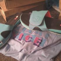 Lebrons Aqua South Beach  Flip Flops Sz 11-12 Photo