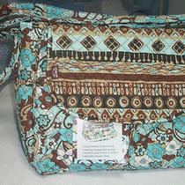 Leenie Brown/aqua Print Deluxe Diaper Bag-New With Tags-Can Also Use as Tote Photo