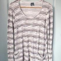 Left of Center Anthropologie Xs 0 2 White Gray Space Dye Ls a Line Tunic Shirt Photo