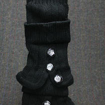 Leg Warmers Sweater Knit Fancy Buttons Black Bell Bottom Slip on Bulky Slouchy  Photo