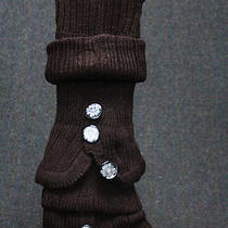 Leg Warmers Sweater Knit Fancy Buttons Brown Bell Bottom Slip on Bulky Slouchy  Photo