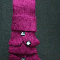 Leg Warmers Sweater Knit Fancy Buttons Magenta Bell Bottom Slip on Bulky Slouch Photo