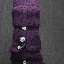 Leg Warmers Sweater Knit Fancy Buttons Purple Bell Bottom Slip on Bulky Slouch Photo