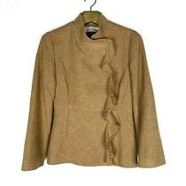 Lela Rose Gold Tweed Linen Blend Jacket Blazer Sz 8 Ruffle Suiting Career  Photo