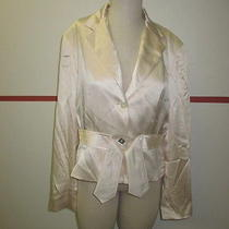 Lela Rose Ivory Silk Blazer W Buttons on Front and Cuffs W Belt Size 14 J402  Photo