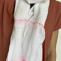 Lemlem Cotton Rayon Wrap Scarf White Pink Brown Stripe Photo