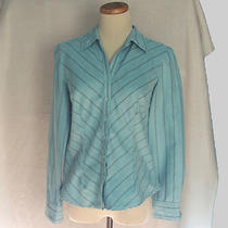 Lemon Grass Woman Sz S Faux Suede Light Turquoise Aqua Blue Shirt Blouse Gray St Photo