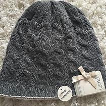 Lemon Women's Hat Reversible Cozy Cashmere Wool Charcoal Gray Blush Pink Nwt Photo