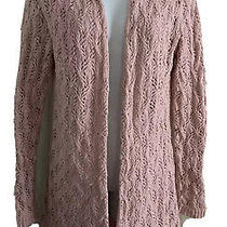 Leo and Nicole Women's Open Knit Long Cardigan Sweater Size S Blush Pink Cotton Photo