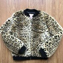 Leopard Faux Fur Bomber Zipper Jacket Euc Girls M 7/8 Photo