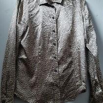 Leopard Print Satin Shirt Blouse Size 38 12 Photo