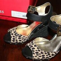Leopard Print Wedge Ankle Strap Platform Sandals 7.5 Guess Nib Photo