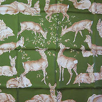 Les Biches Hermes Scarf (New-Tags) 90cm 100% Silk Carre Photo