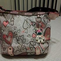 Lesport Sac Classic Hobo Bag Graphic Hearts Brown Trim Photo