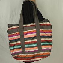 Lesport Sac Multi Color Striped Shoulder Bag Purse Large Photo