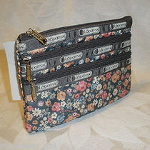 Lesportsac 3 Zip Cosmetic Bag Cottage Garden Wallet Camera Phone Nwt Photo