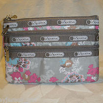 Lesportsac 3 Zip Cosmetic Bag Endearing Wallet Camera Phone Floral Pink Nwt Photo