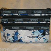 Lesportsac 3 Zip Cosmetic Bag Grace Wallet Tech Device Camera Phone Blue Nwt Photo