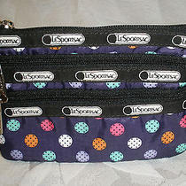 Lesportsac 3 Zip Cosmetic Bag Gum Drops Wallet Camera Phone Purple Nwt Photo