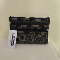 Lesportsac 3 Zip Cosmetic Case Army Cheeta Nwt  6501 Photo