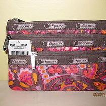 Lesportsac 3 Zip Cosmetic Case Flower Child Nwt  6501 Photo