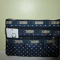 Lesportsac 3 Zip Cosmetic Case Nauticool Nwt  6501 Photo