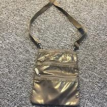 Lesportsac 3 Zipper Triple Crossbody Messenger Bag Shimmer Soft Gold Rare Photo