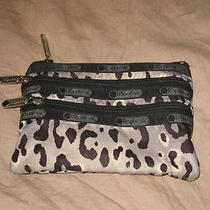 Lesportsac Animal Print Cosmetics Case Change Purse 3 Zipper Pouch Photo