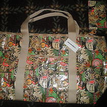 Lesportsac Beach Tote in Flamingo Print Rare 75 Comes W/ Pouch Last One Photo