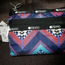 Lesportsac  Beaded Chevron Small Zip Cosmetic Bag New With Tag Photo