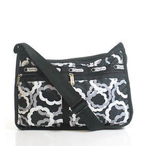 Lesportsac Black White Geometric  Water Resistant Expandable Messenger Handbag Photo
