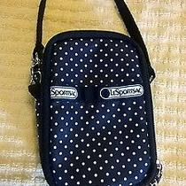Lesportsac Cell Phone Wristlet Black and White Polkadot Pre-Owned Euc Photo