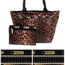 Lesportsac Cheetah Cat Everygirl Tote  Matching Cosmetic Bag Nwt Free Ship 7891 Photo