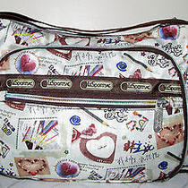 Lesportsac Colorful Fun Print Multi Pocket Crossbody Shoulder Bag Tote Photo
