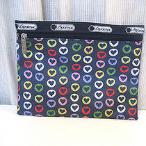 Lesportsac Cosmetic Bag Blue With Hearts Photo