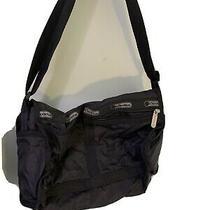 Lesportsac Crossbody Messenger Purse Black Nylon  Zip Top 14x9x5 Photo