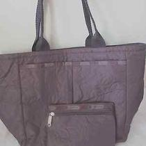 Lesportsac Deluxe Everygirl Tote in Black Purple Solid Color Quilted Medium Photo